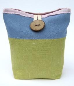 F small pistachio linen pouch front